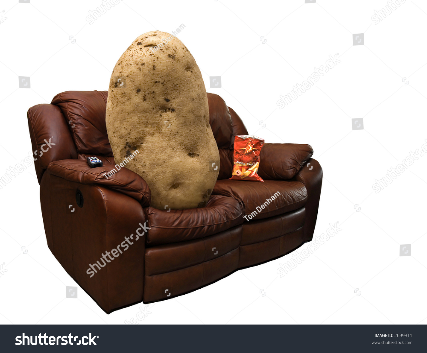 Photo of a potato on a leather couch with a bag of chips for The couch potato furniture