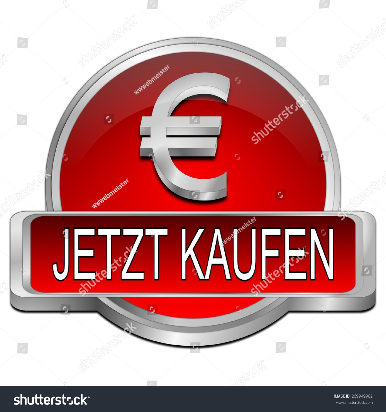 Buy Now Button Euro Symbol German Stock Illustration 269949962