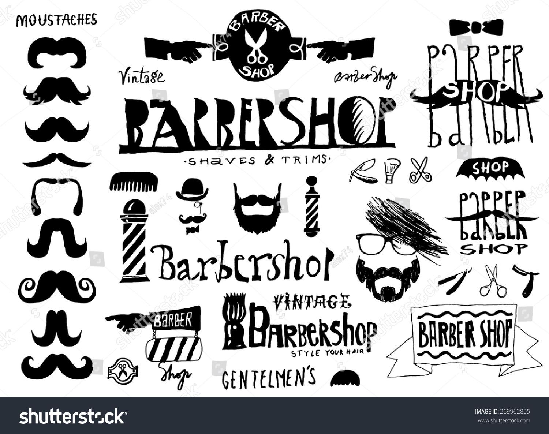 Antique barber shop signs - Set Of Vintage Barbershop Hair Salon Logo Labels Badges Street Signs