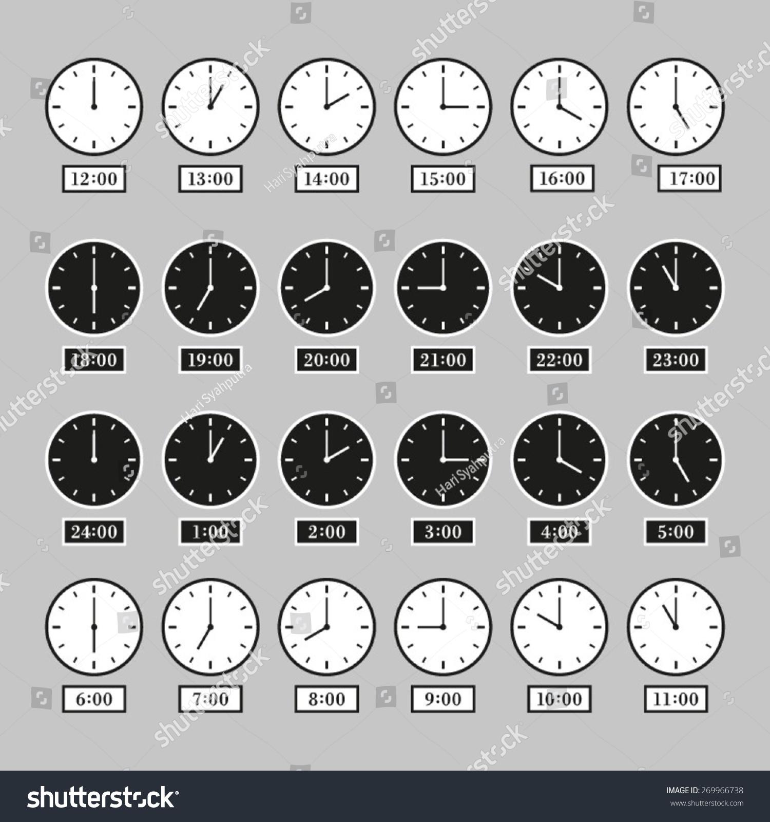 Vector Analog Clock 24 Hours Day Stock Vector 269966738 - Shutterstock