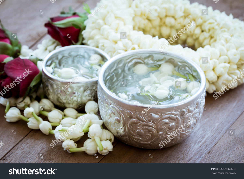 Water Jasmine Flower Silver Bowl Jasmine Stock Photo Edit Now