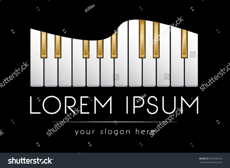 Golden Piano Keys Music Band Vector Logo Template
