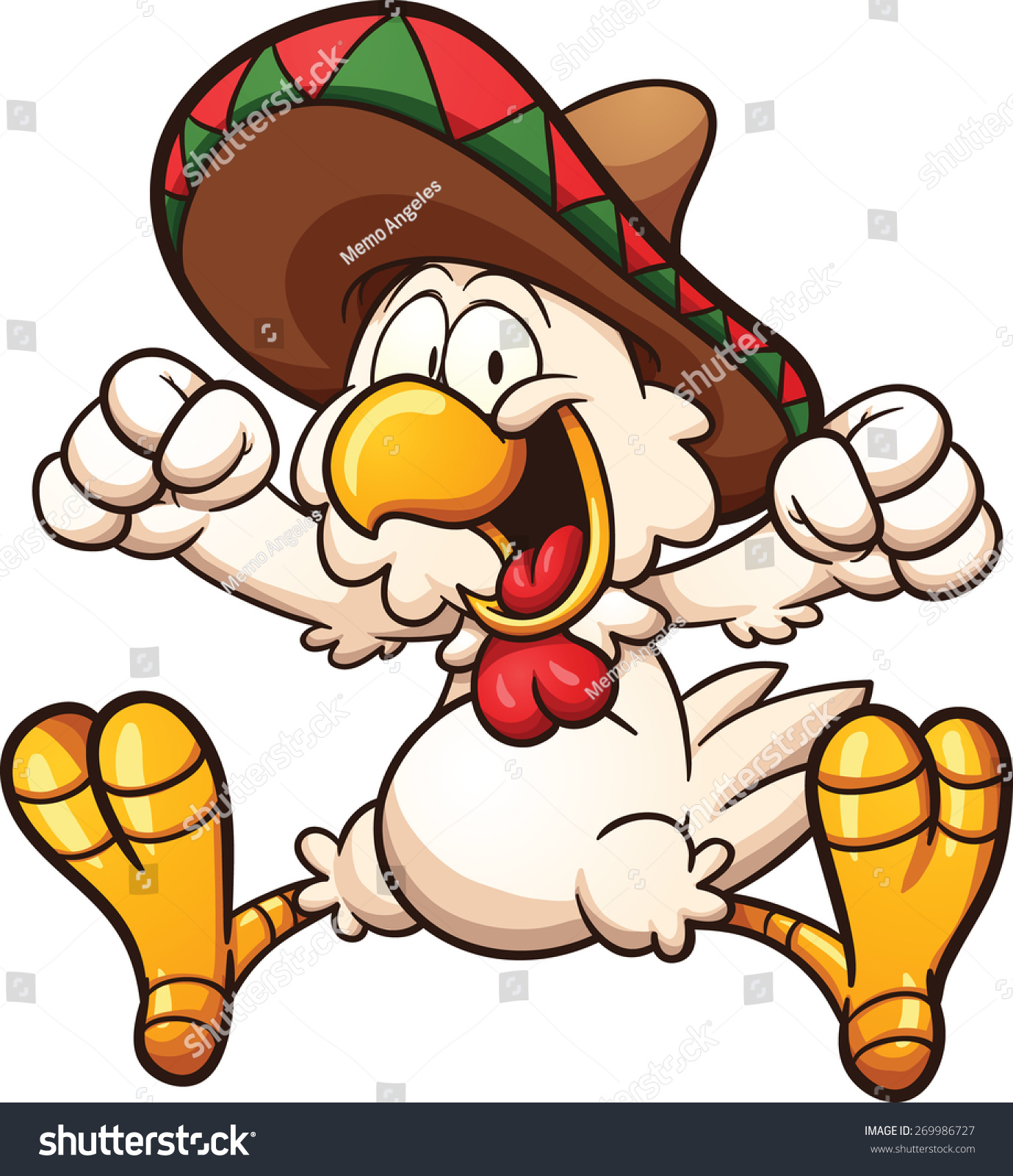 Cartoon Chicken Mexican Sombrero Vector Clip Stock Vector ...