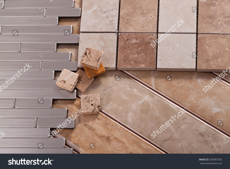 Ceramic Stones Made : Tiles made of ceramic stone and aluminum stock photo
