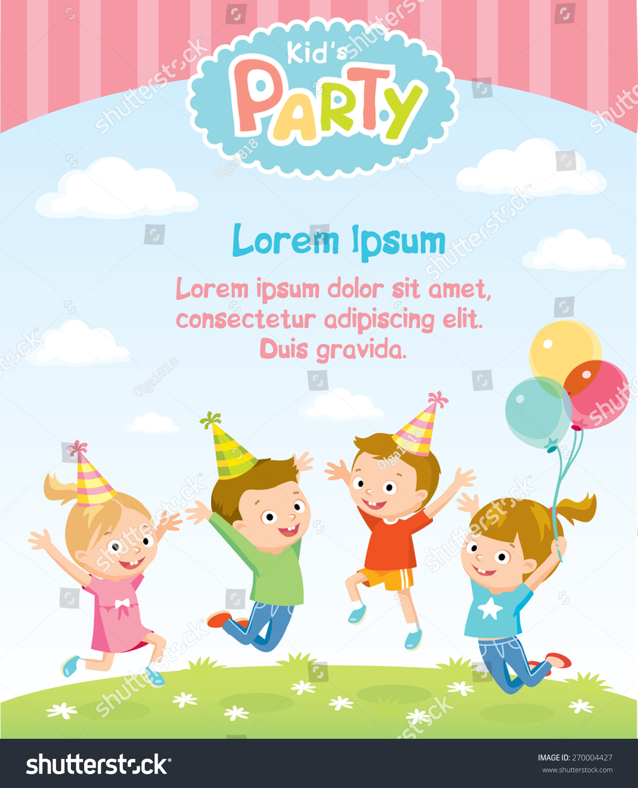 Childrens Party Invitation Jumping Kids Stock Vector HD (Royalty ...