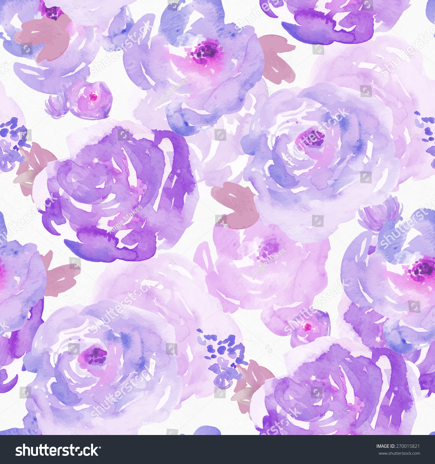 Seamless Purple Painted Flowers Background Pattern Stock