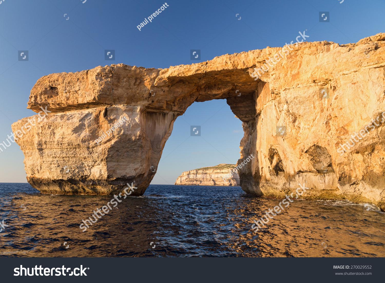 Azure Window Limestone Natural Arch On Stock Photo ...   Gozo Limestone