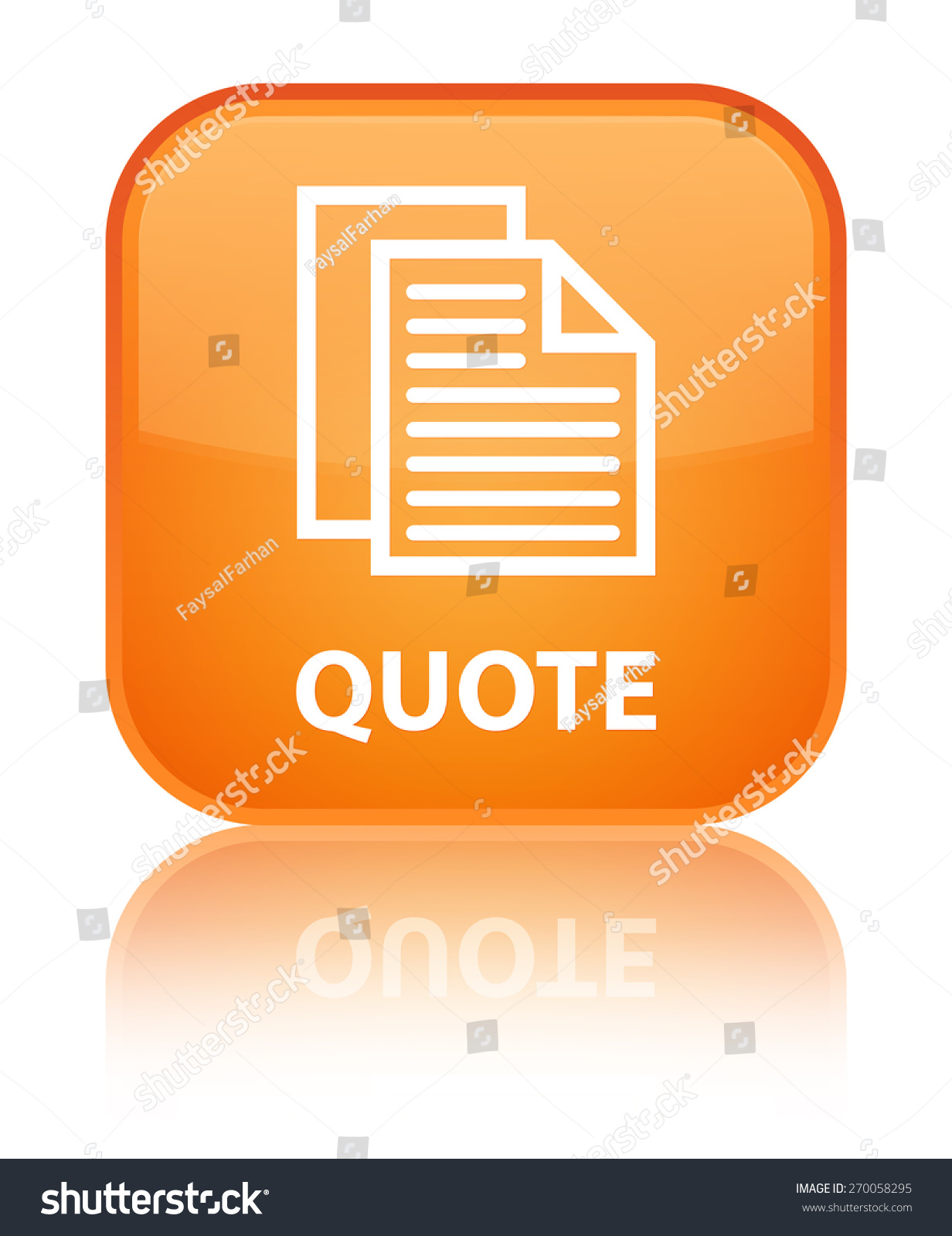 quote document pages icon orange square stock illustration quote document pages icon orange square button