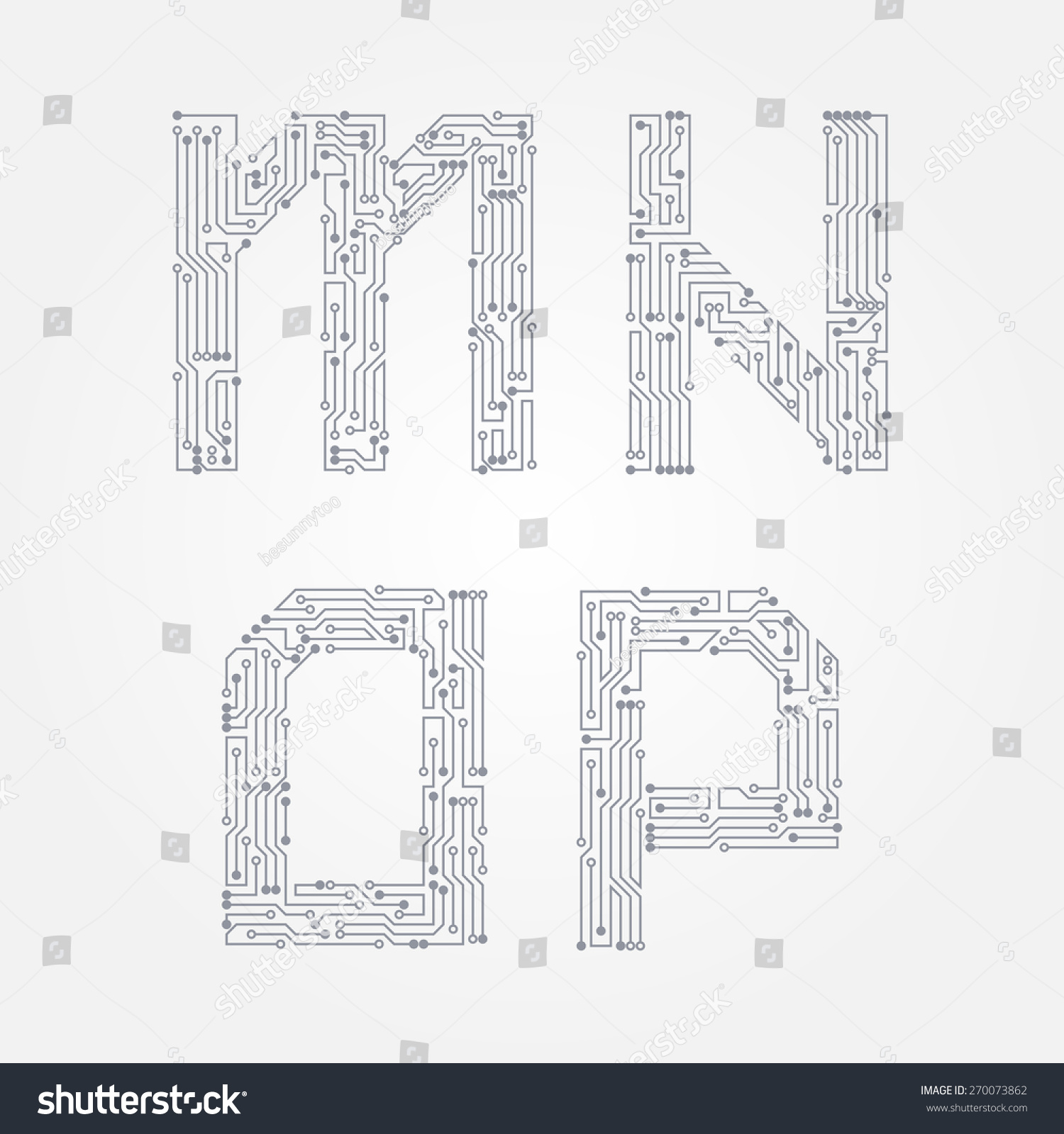 Circuit Board Form M N O Stock Vector 270073862 - Shutterstock