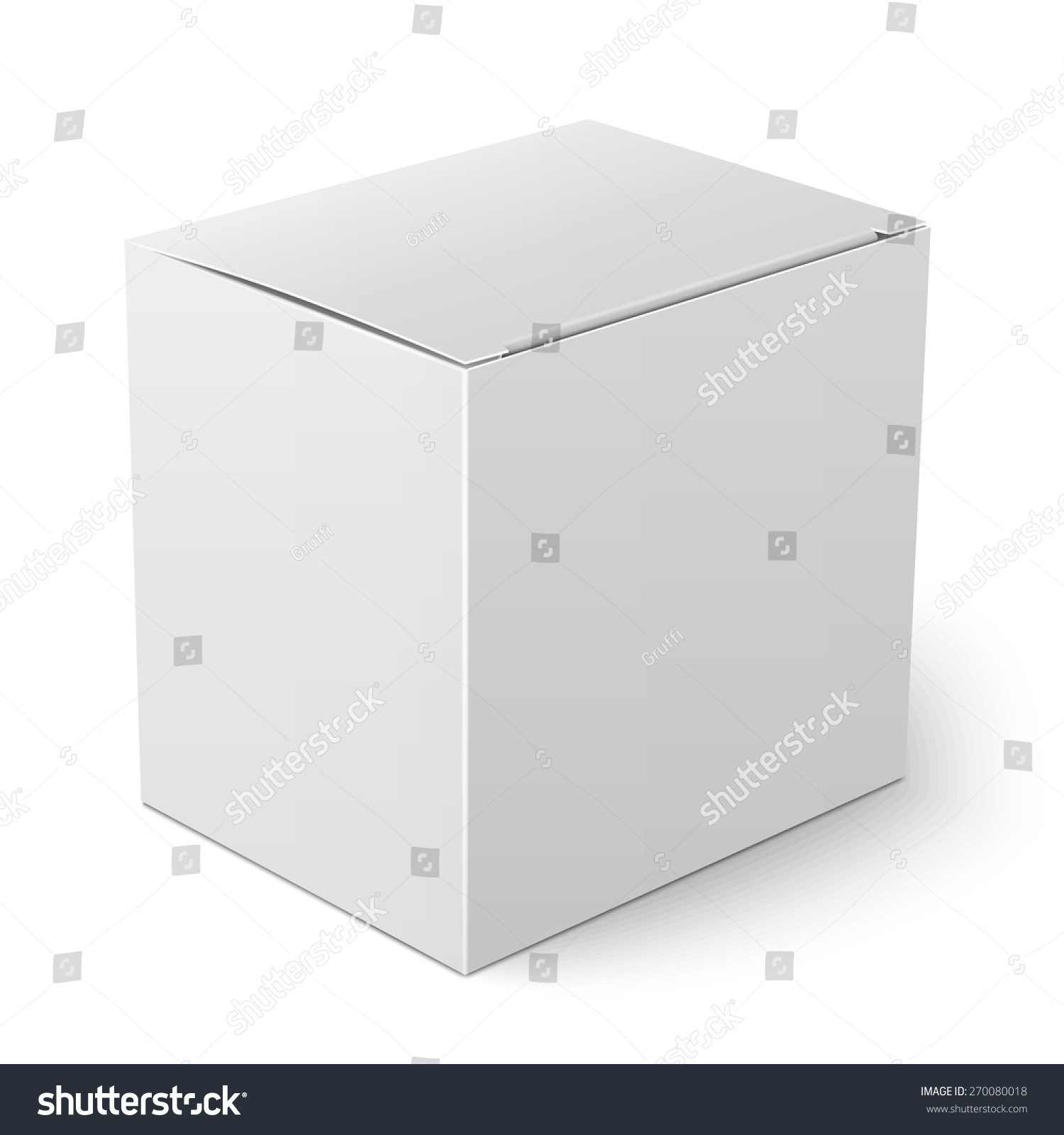 blank paper or cardboard box template with flap cover standing on white background packaging. Black Bedroom Furniture Sets. Home Design Ideas