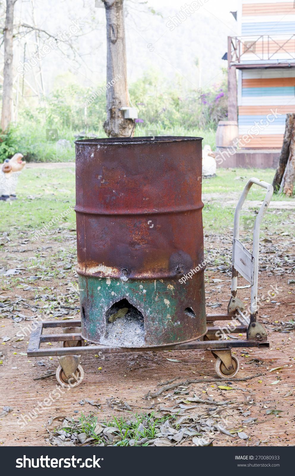 Diy Homemade Backyard Incinerator Good Idea Stock Photo