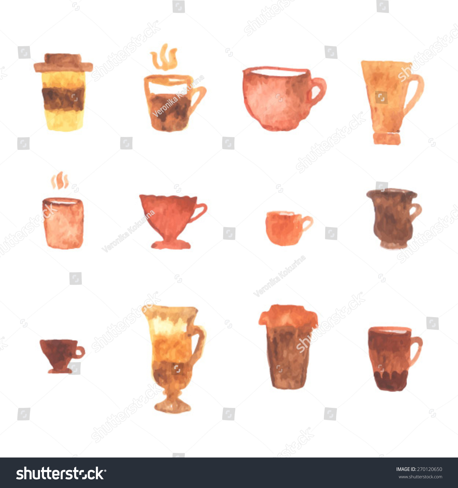 Coffee cup set watercolor cup illustration stock vector for Coffee watercolor