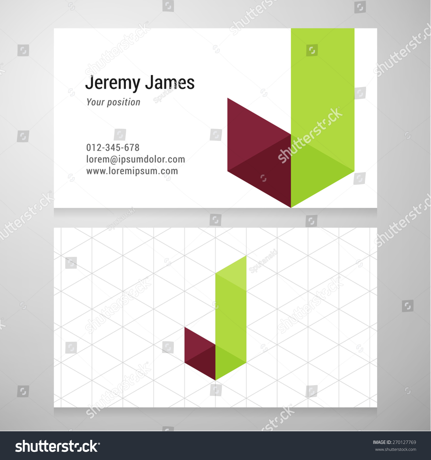 Modern Letter J Origami Business Card Stock Vector 270127769 ...