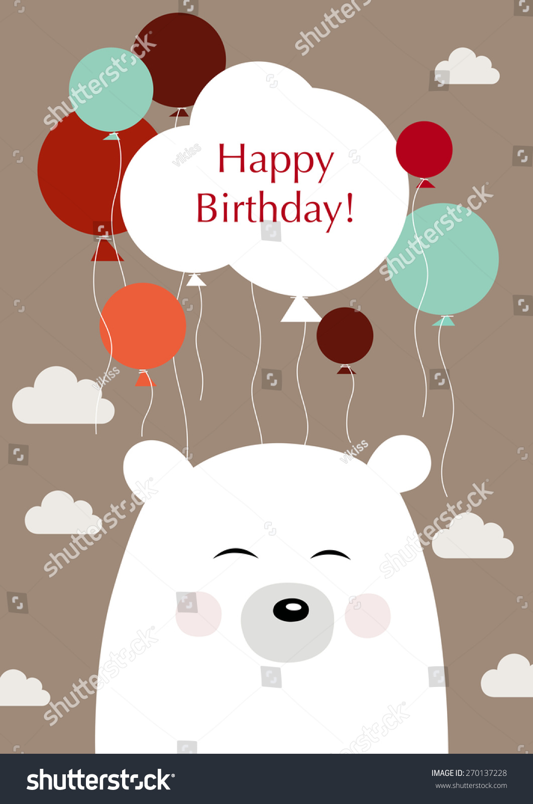 Happy Birthday Illustration Birthday Greetings Bear Stock Vector