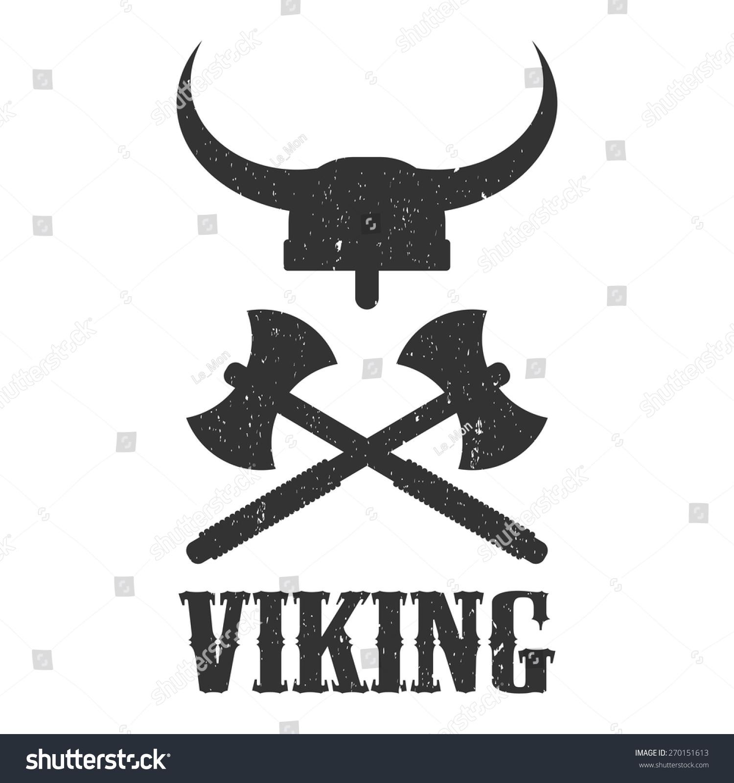 logo viking helmet and axes stock vector 270151613