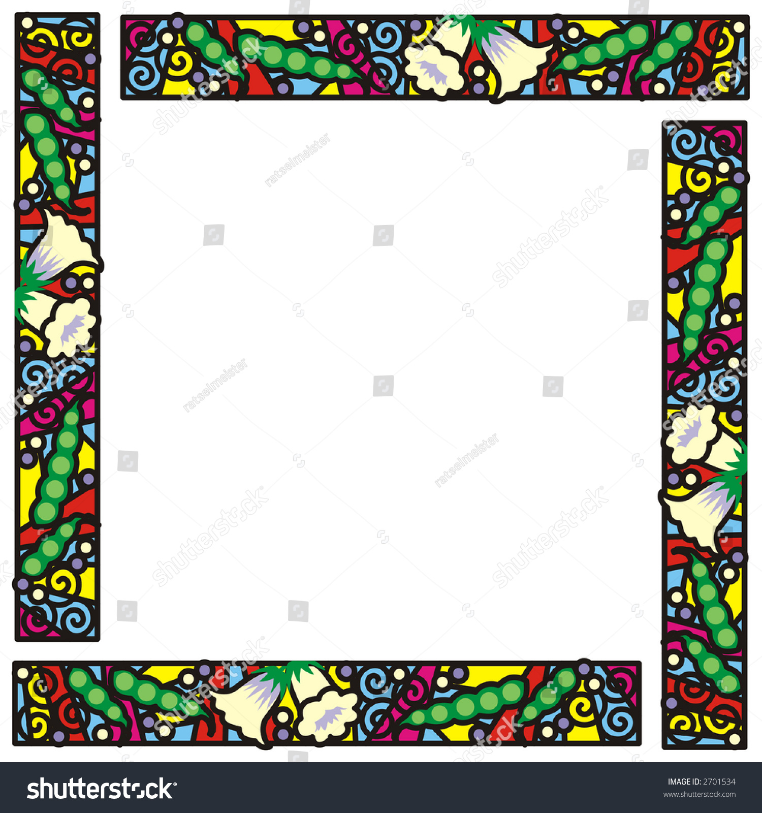 stained glass frame four panel border stock illustration 2701534