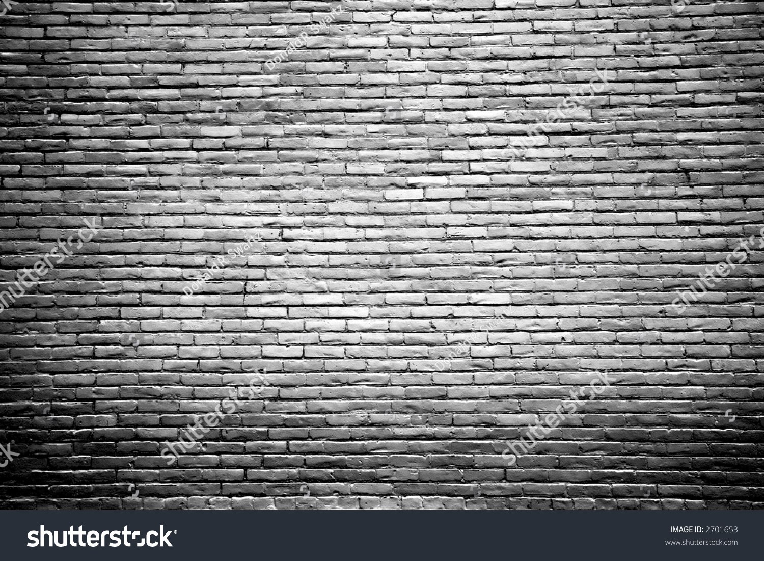 Black And White Brick Wall Background With Highlighted