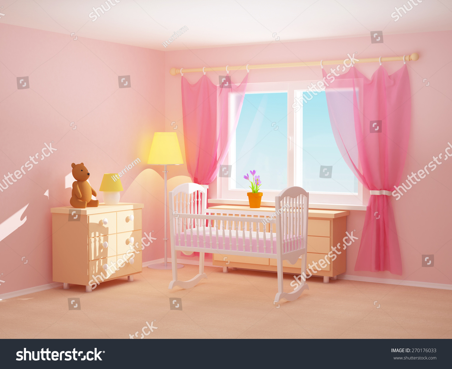 Babys Bedroom Cradle Commode Bear Empty Stock Illustration 270176033 ...