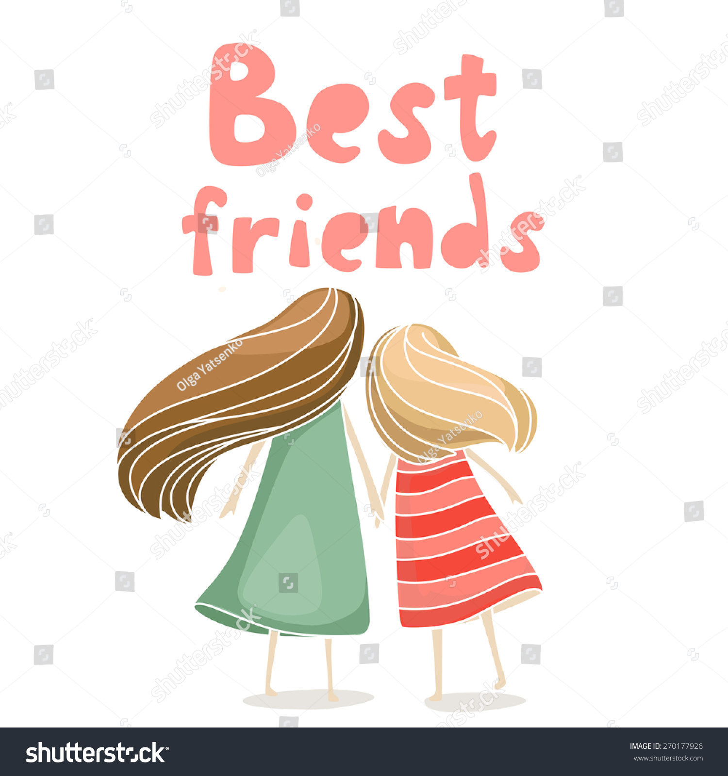 175 Best It S Official I Have A Teenager Images On: Two Best Friends Girls Holding Hands Stock Vector