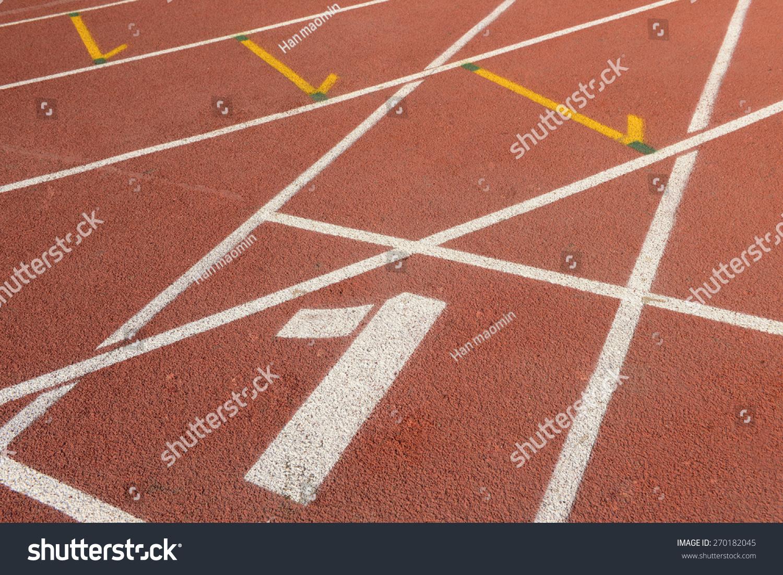 在运动场塑胶跑道,特写镜头