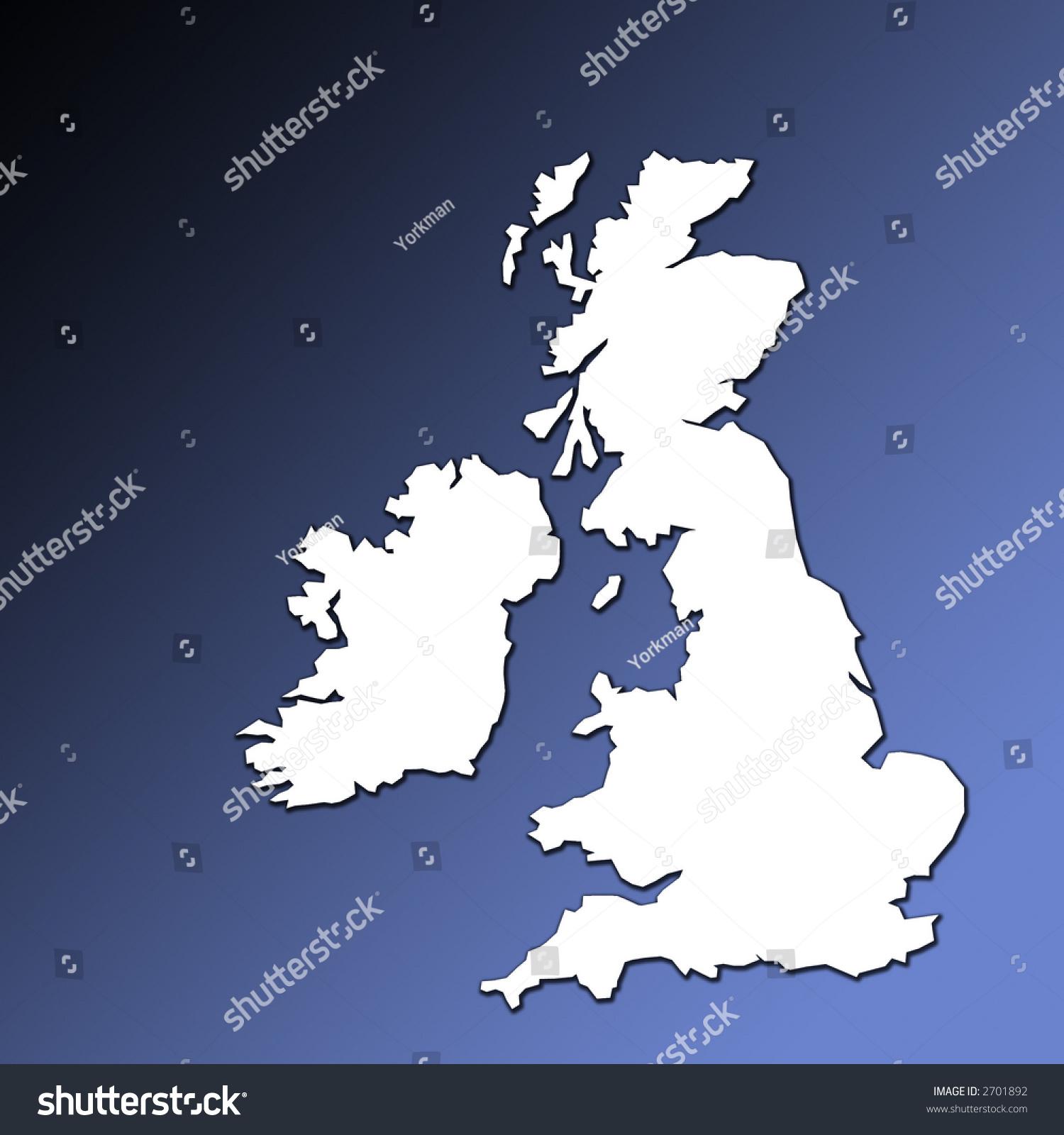 uk ireland map outline white on stock illustration 2701892