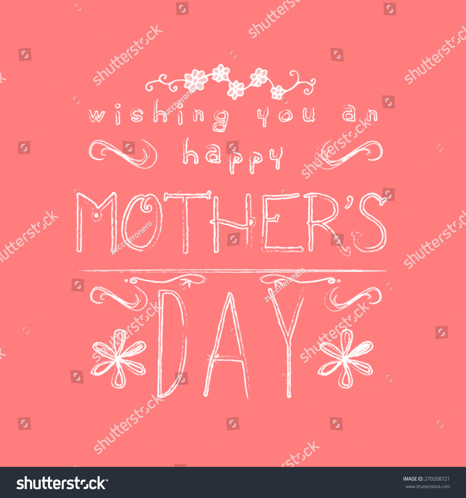 Happy Mothers Day Typographic Hand Drawn Stock Vector 270208721 ...