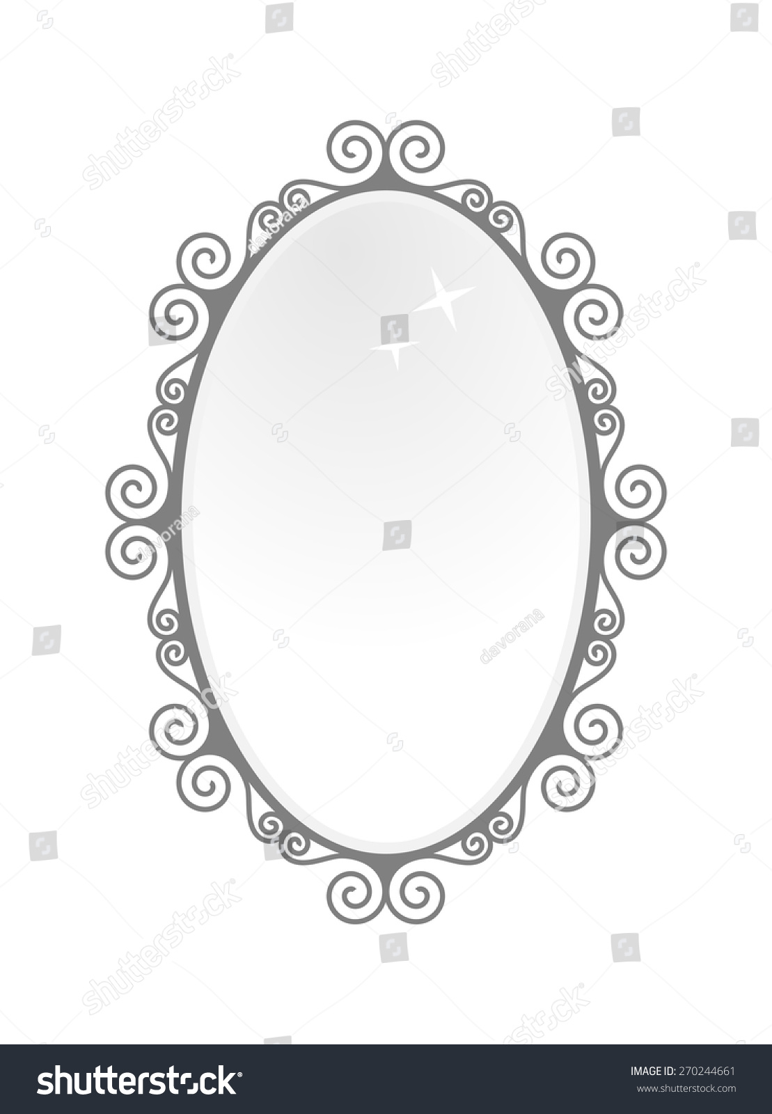 antique oval mirror frame. Black Vintage Oval Mirror Frame. Baroque Antique Style Design, Vector Art Image Illustration, Frame
