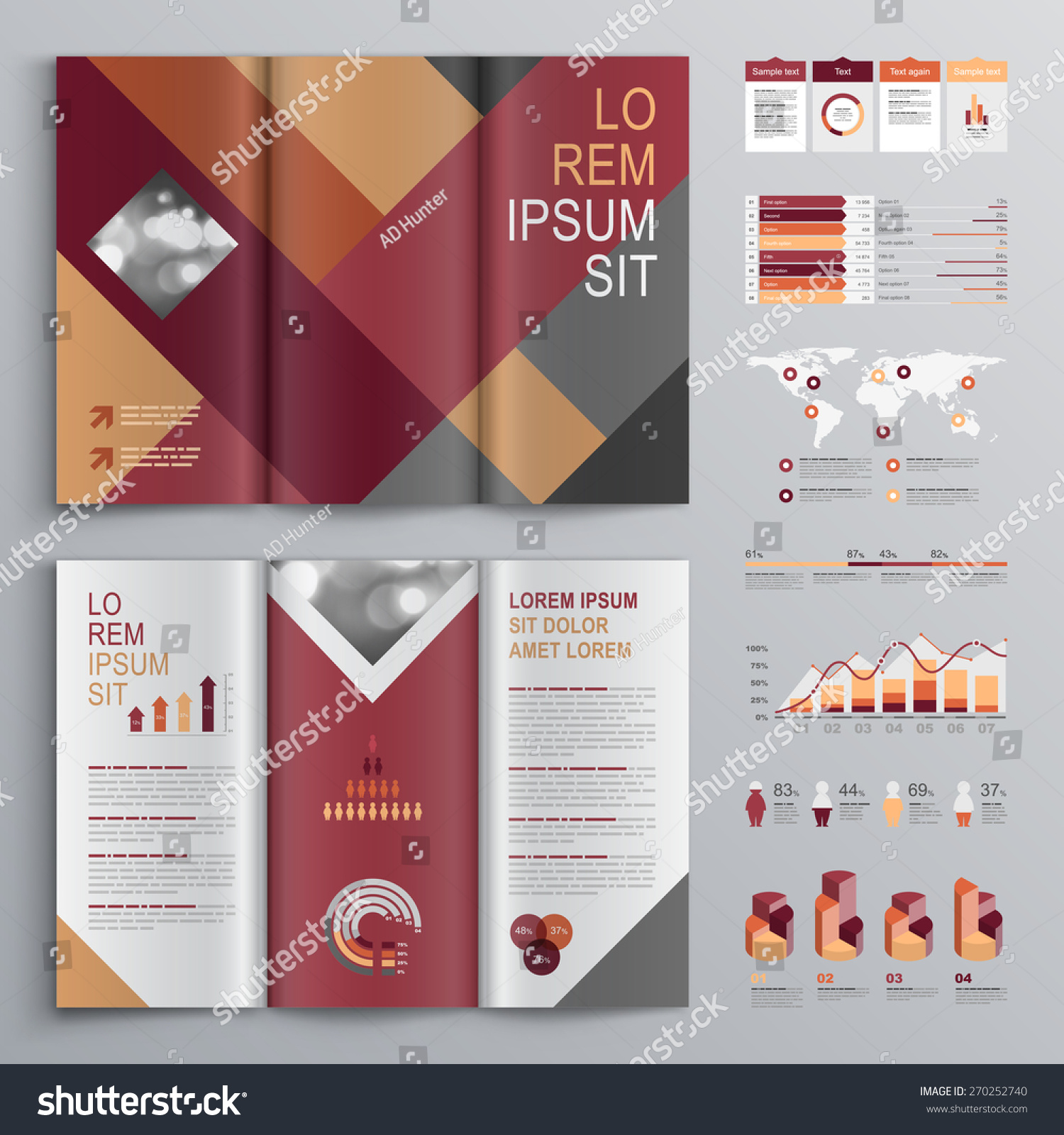 fashion brochure templates - fashion brochure template design red gray stock vector