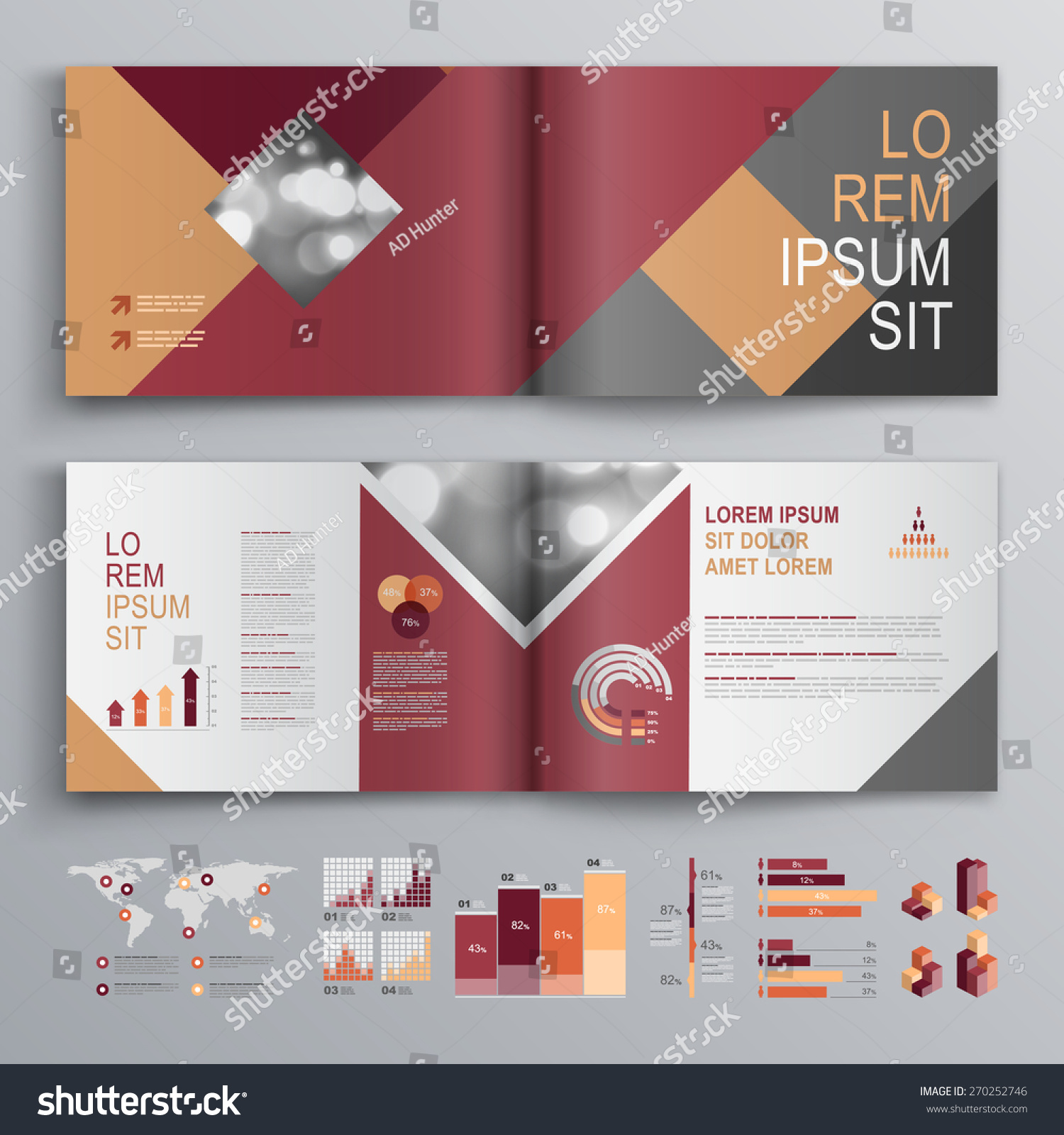 Fashion Brochure Template Design Red Gray Vector 270252746 – Fashion Design Brochure Template