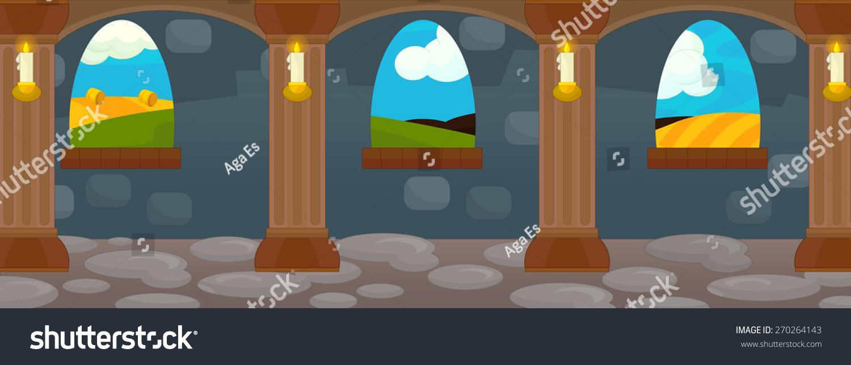 cartoon castle interior illustration children stock illustration