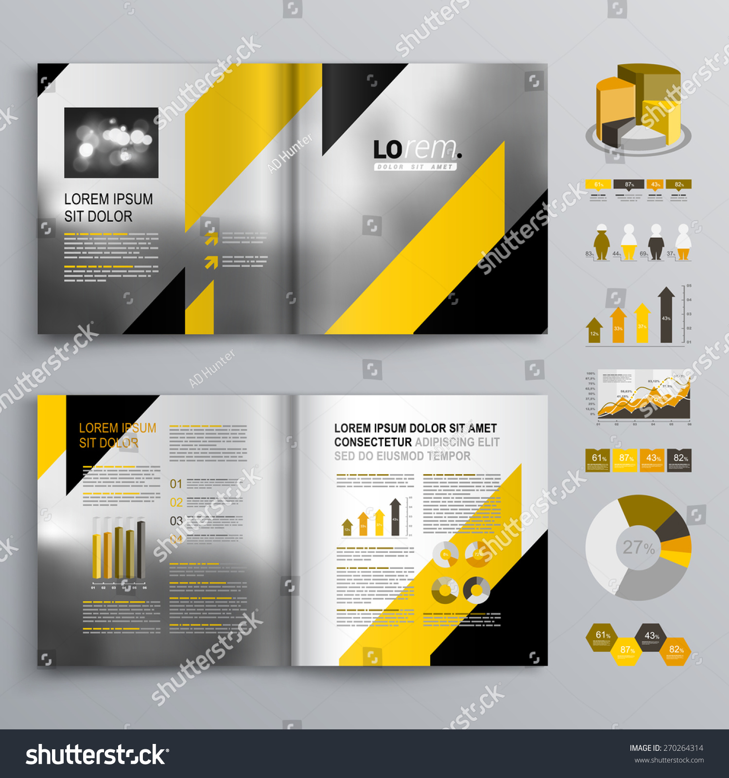 Classic gray brochure template design black lager vektor for Black brochure template