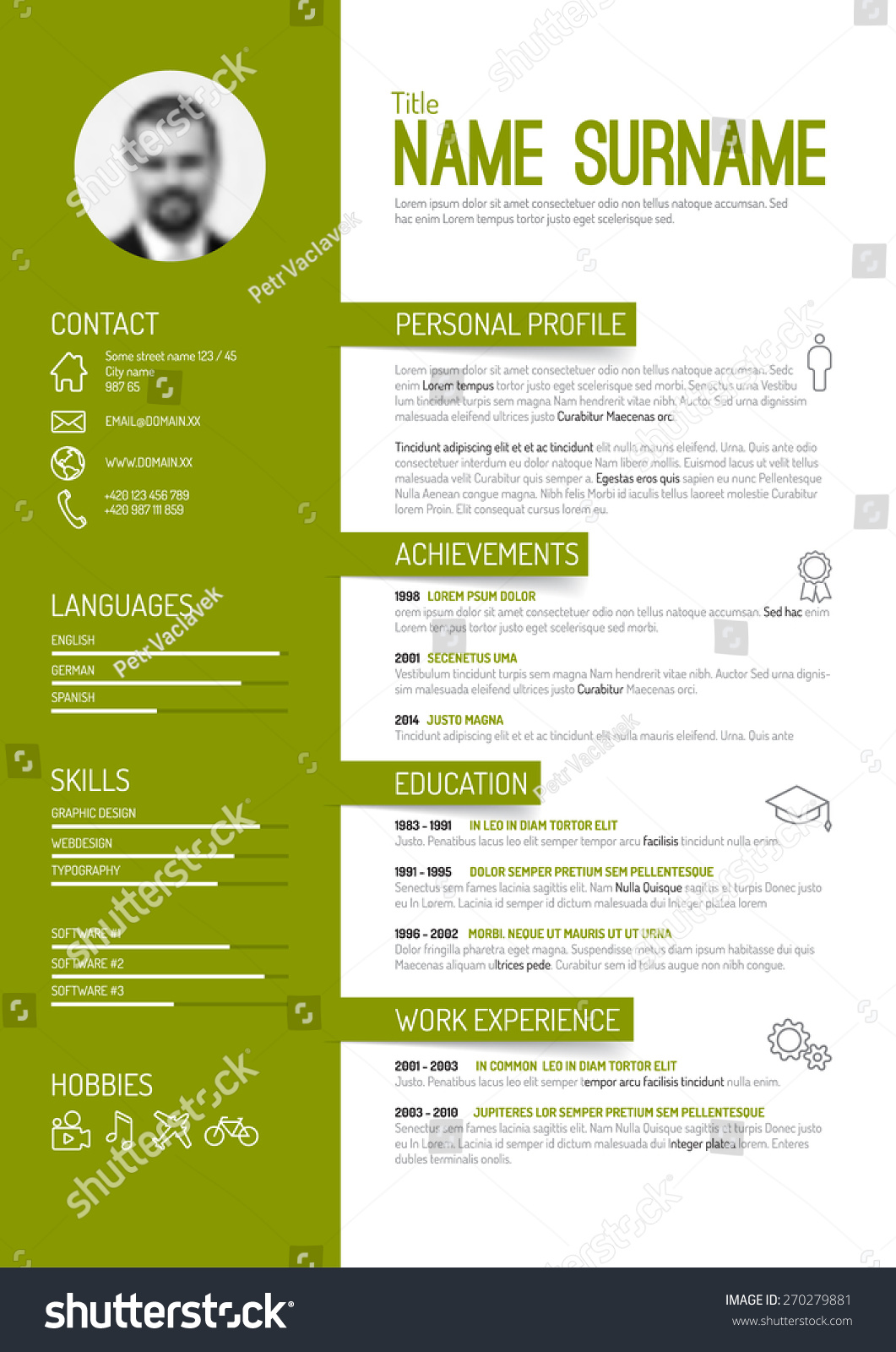 vector minimalist cv resume template green stock vector