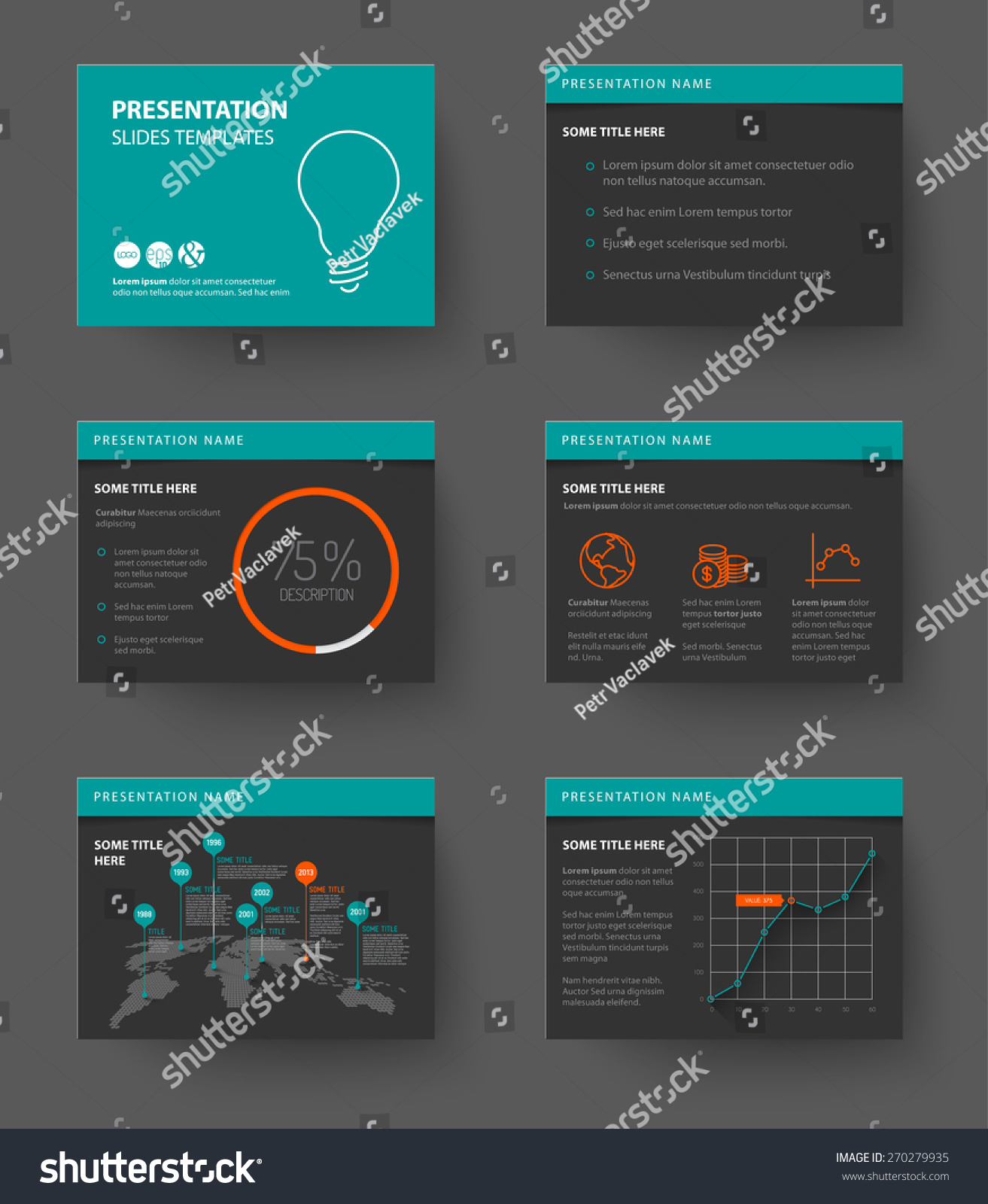 Vector Template Presentation Slides Graphs Charts Stock Vector ...