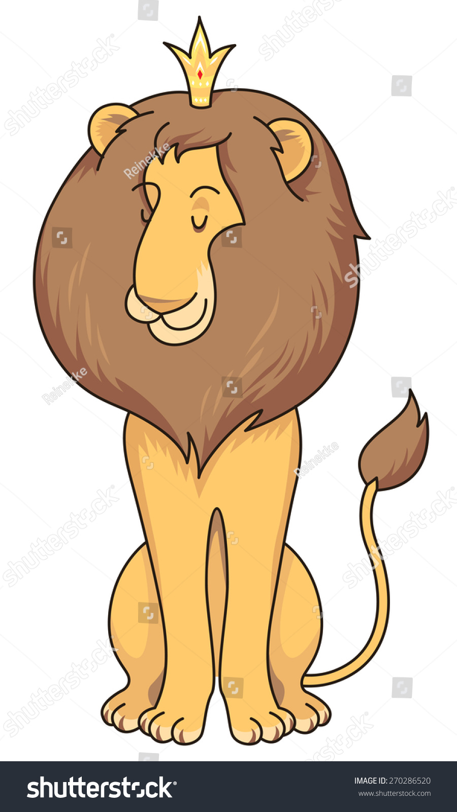 Cartoon Character Sitting Lion Crown Isolated Stock Vector Royalty Free 270286520 Funny animals in flower wreaths happy animal head vector. https www shutterstock com image vector cartoon character sitting lion crown isolated 270286520
