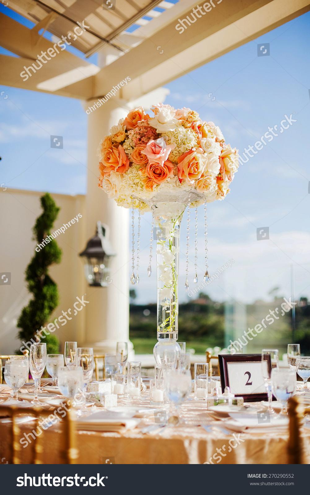 Elegant Expensive Orange White Wedding Reception Stock Photo Edit