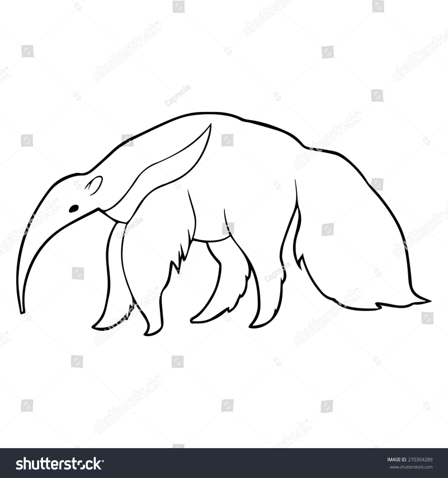 anteater outline illustration stock vector 270304289 shutterstock