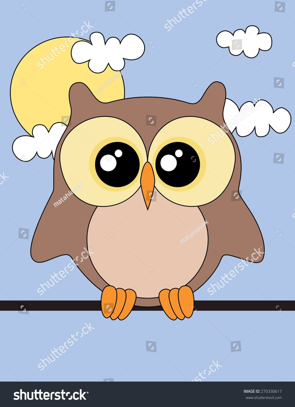 Cute Owl Sun Clouds Owl Wallpaper Stock Illustration 270330617