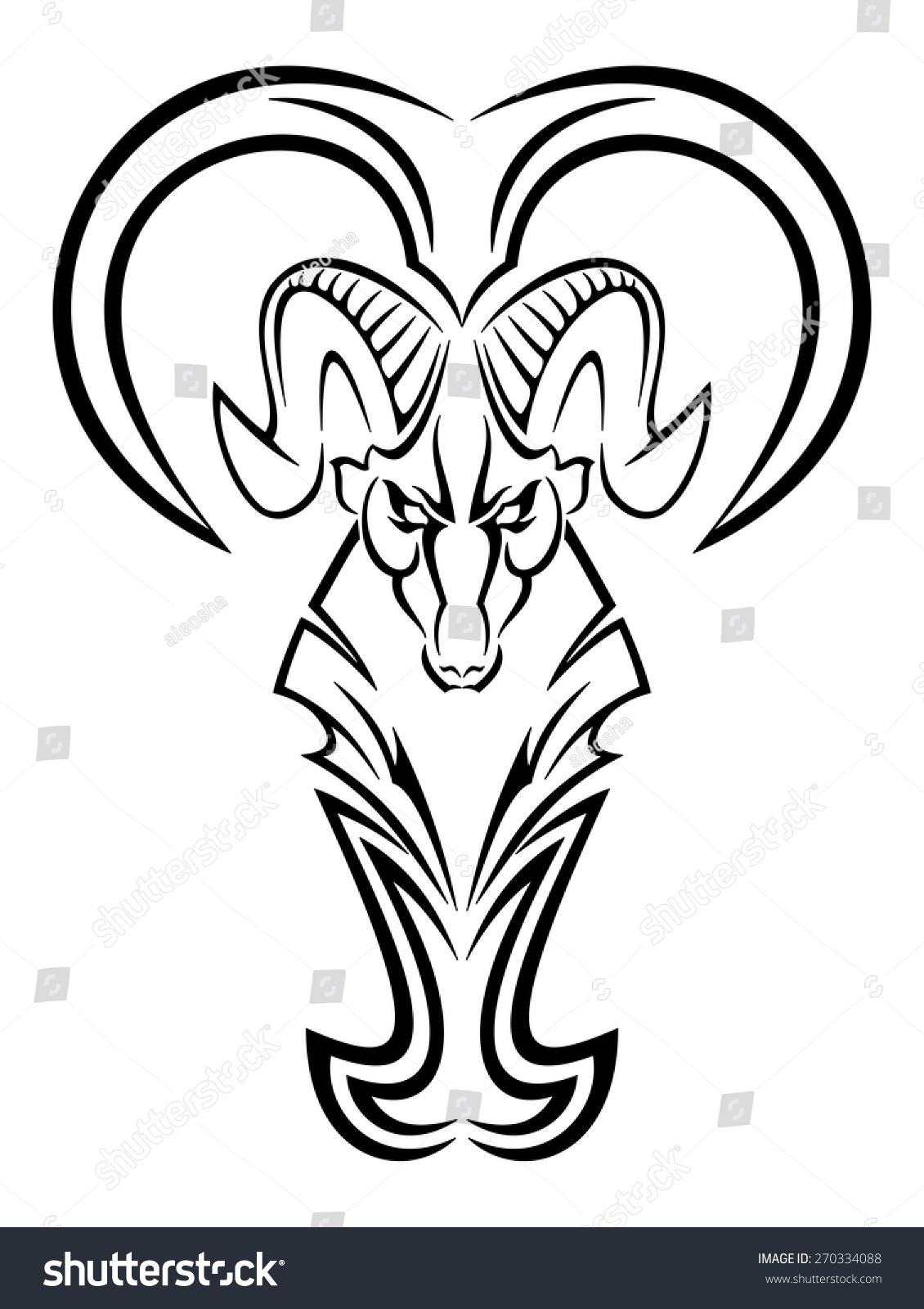 Vector Aries Symbol Design Element Tattoo Stock Vector Royalty Free