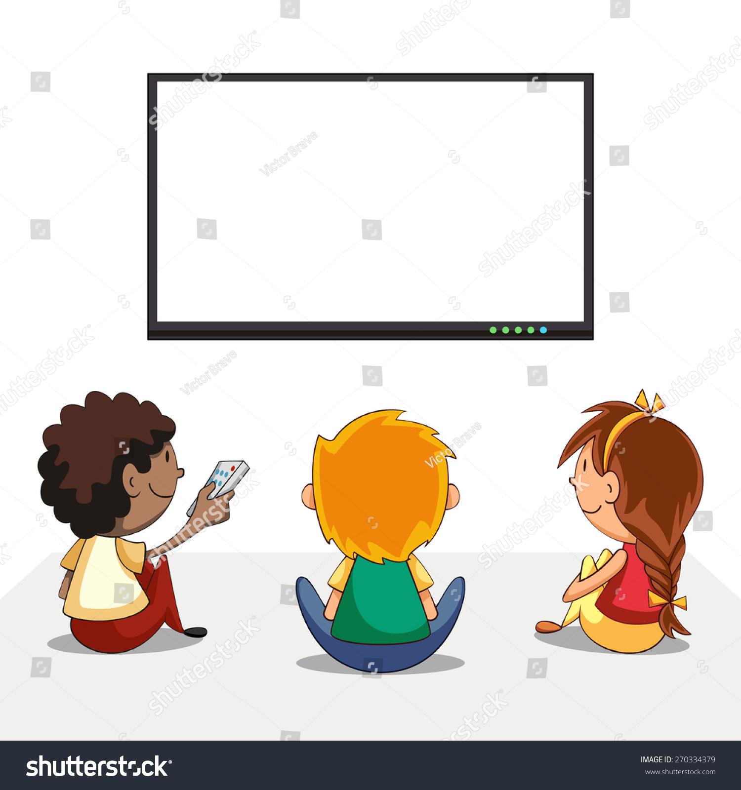テレビを見ている子ども、空の画面、ベクターイラスト