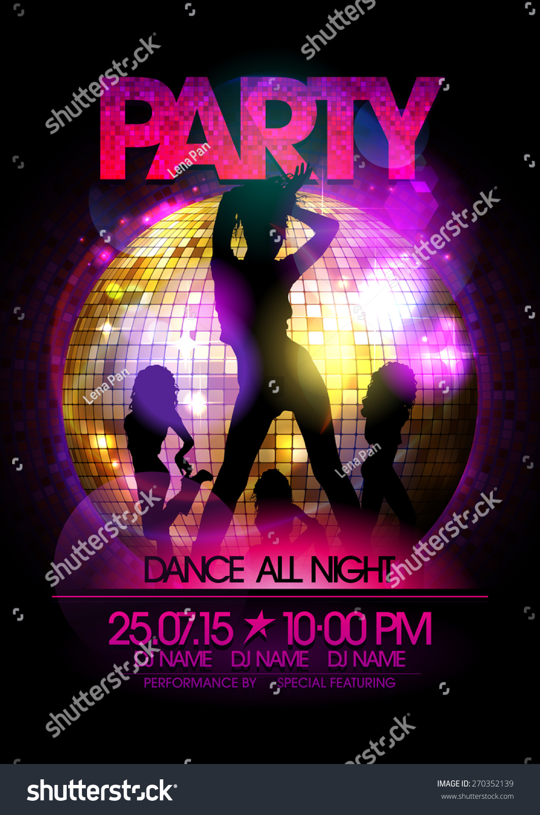 Dance Party Poster With Go Go Dancers Girls Silhouette And