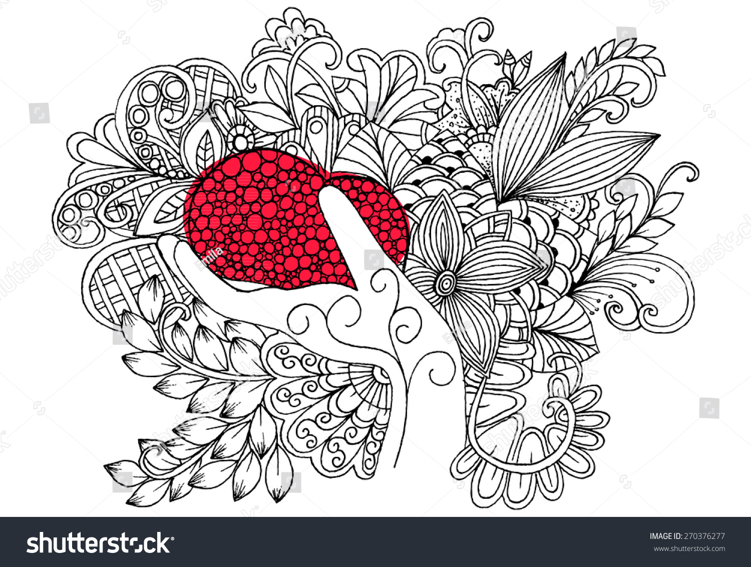 Flowers Hand Red Heart Doodle Floral Stock Vector 270376277 ...