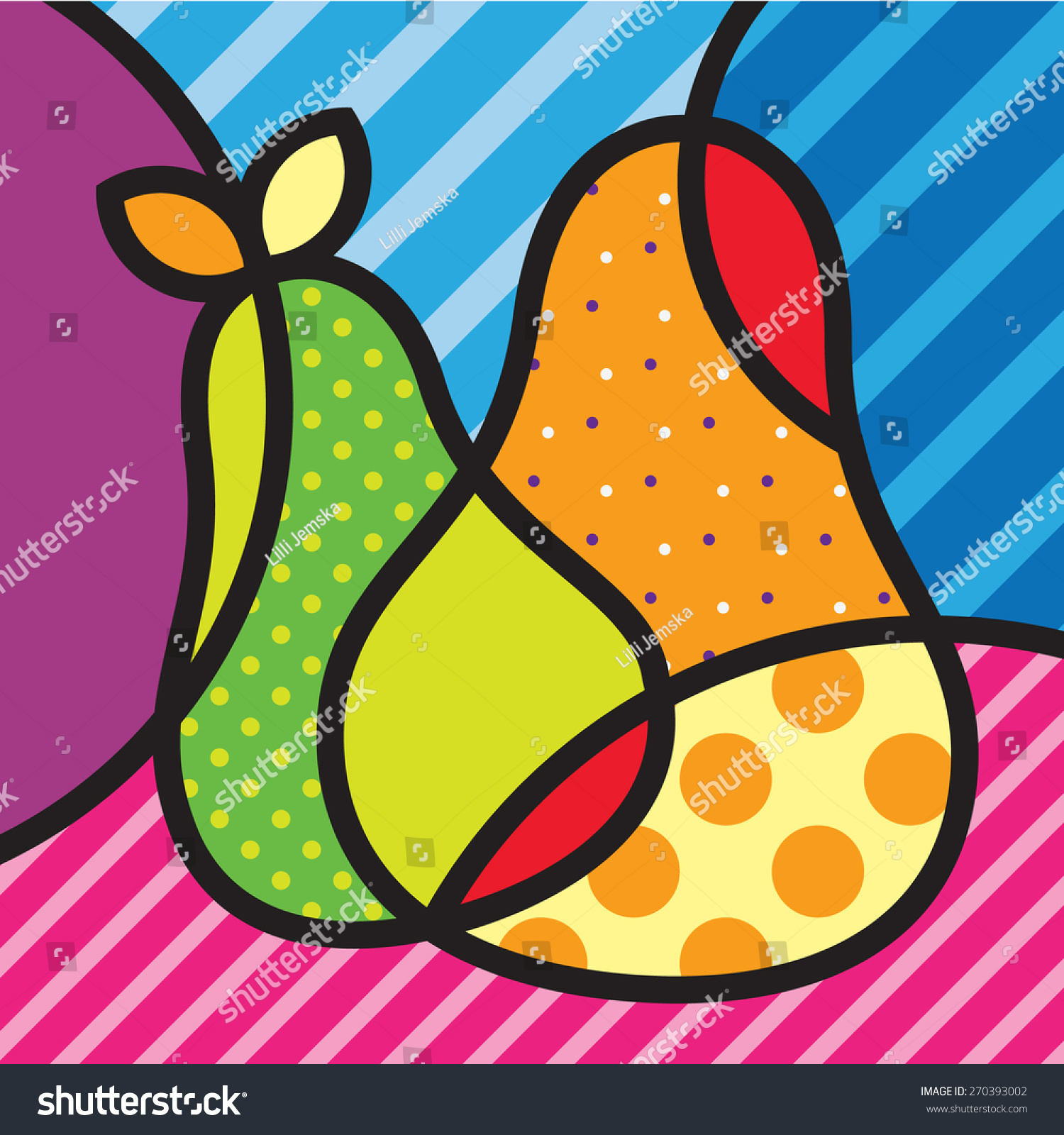 Modern Pop Art Style Apartment: Sweet Pear Fruits Garden Popart Modern Stock Vector