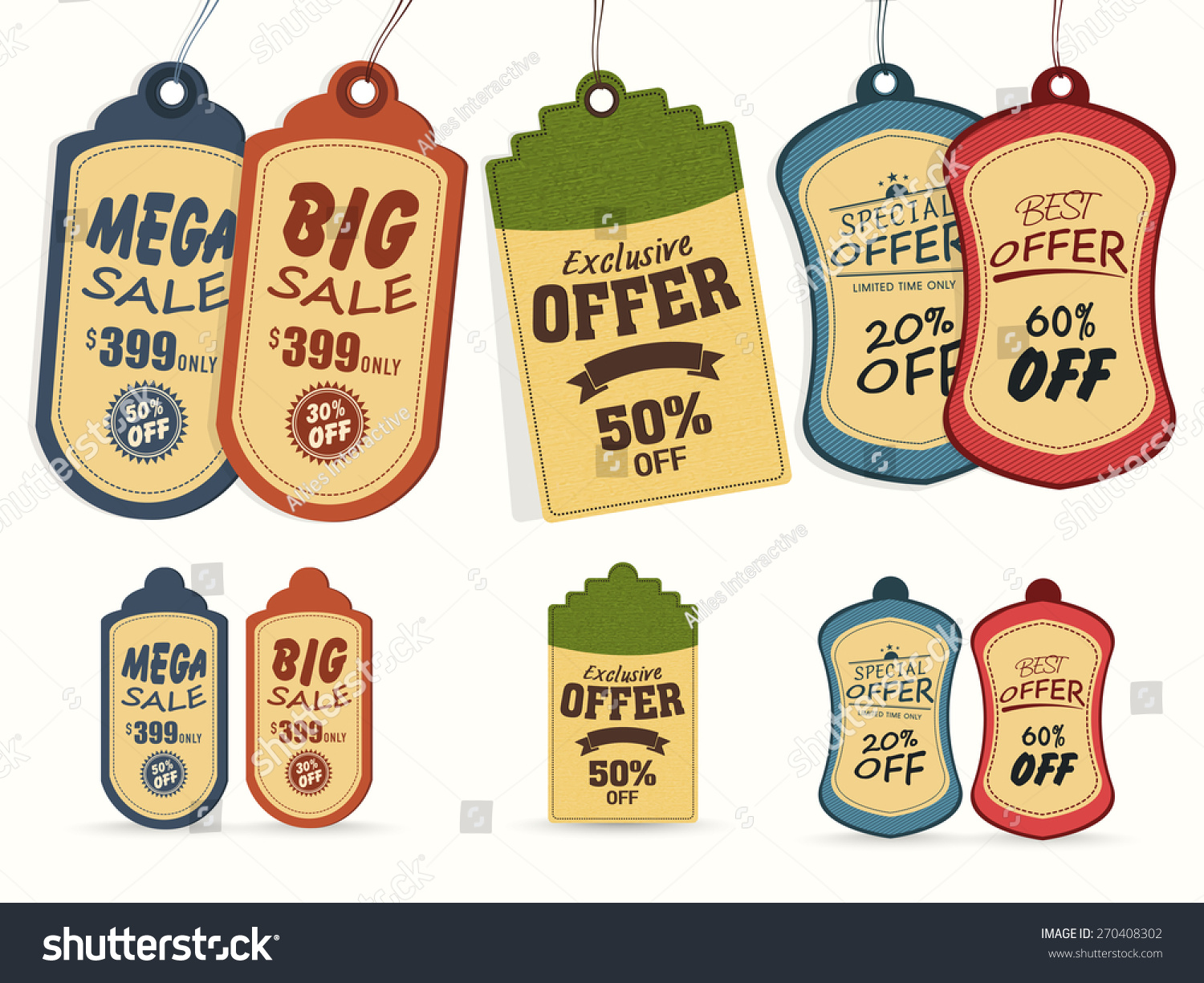 Collection of vintage tags or labels for mega sale with special discount offers