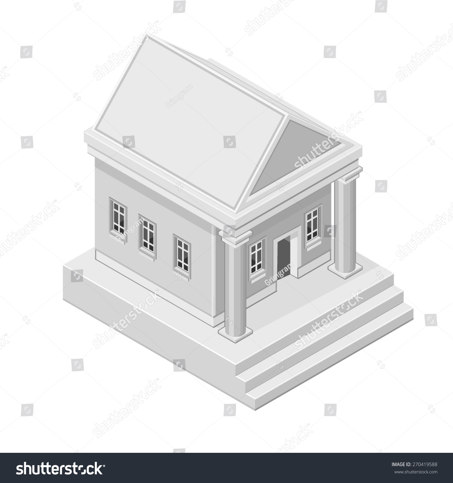 Vector illustration old fashioned bank icon isometric stock vector a vector illustration of an old fashioned bank icon isometric bank symbol for banking biocorpaavc Gallery