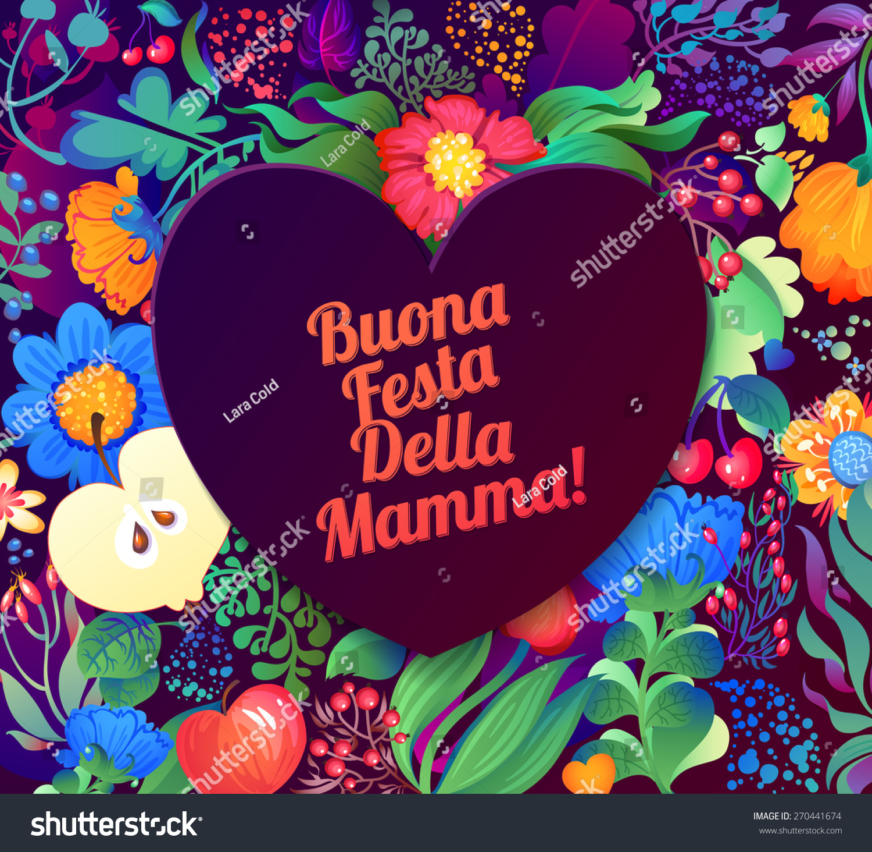 Happy Mothers Day Inscription Italian Congratulations Vector – Happy Birthday Greetings in Italian