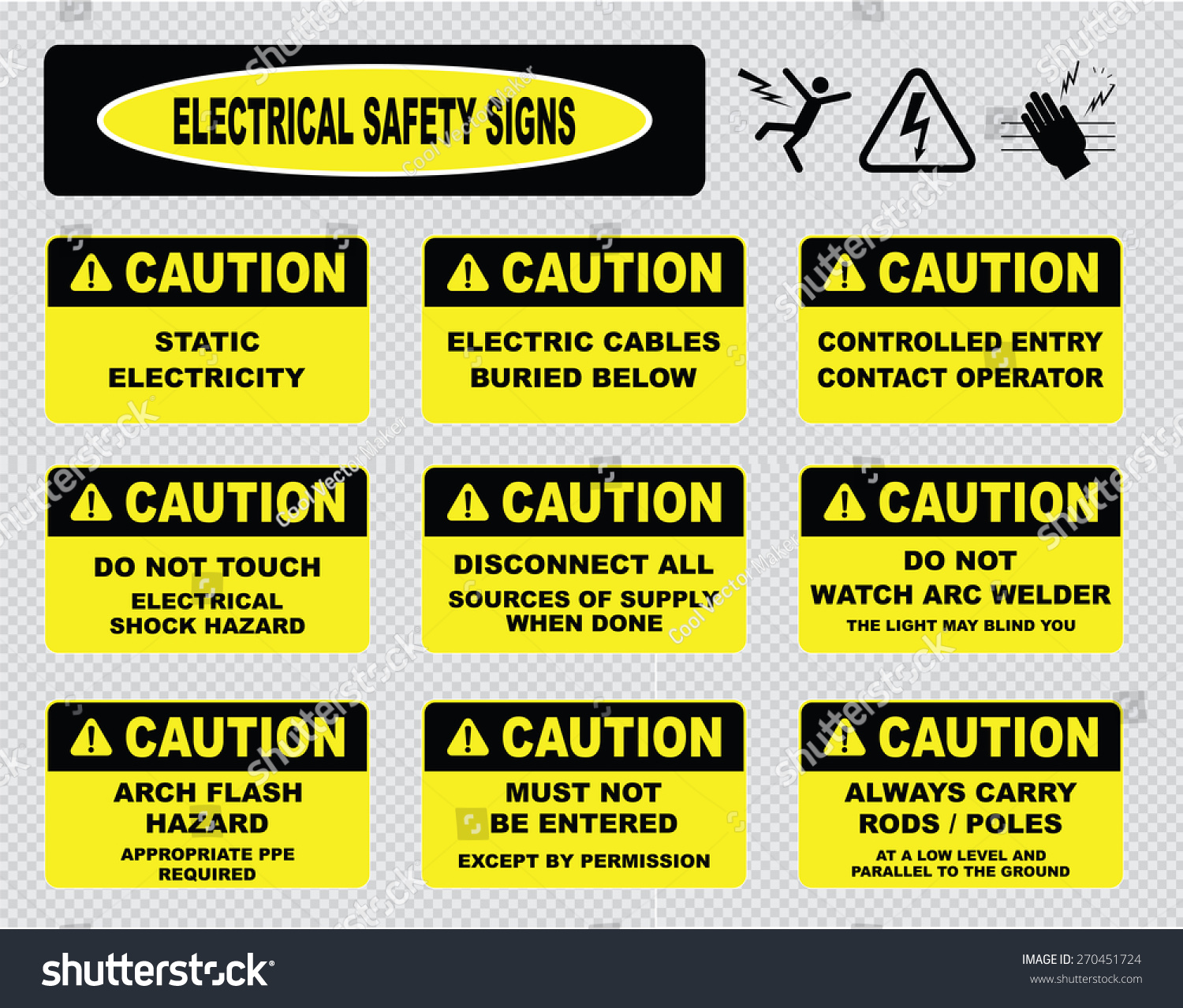 Various Caution Sign Electrical Safety Signs Stock Vector ...