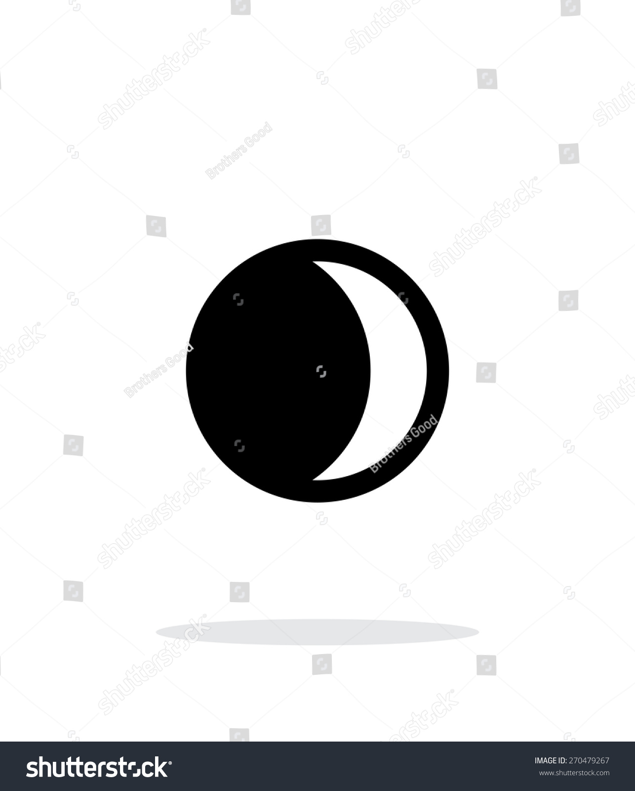 Waxing Crescent Moon Simple Icon On Stock Vector 270479267