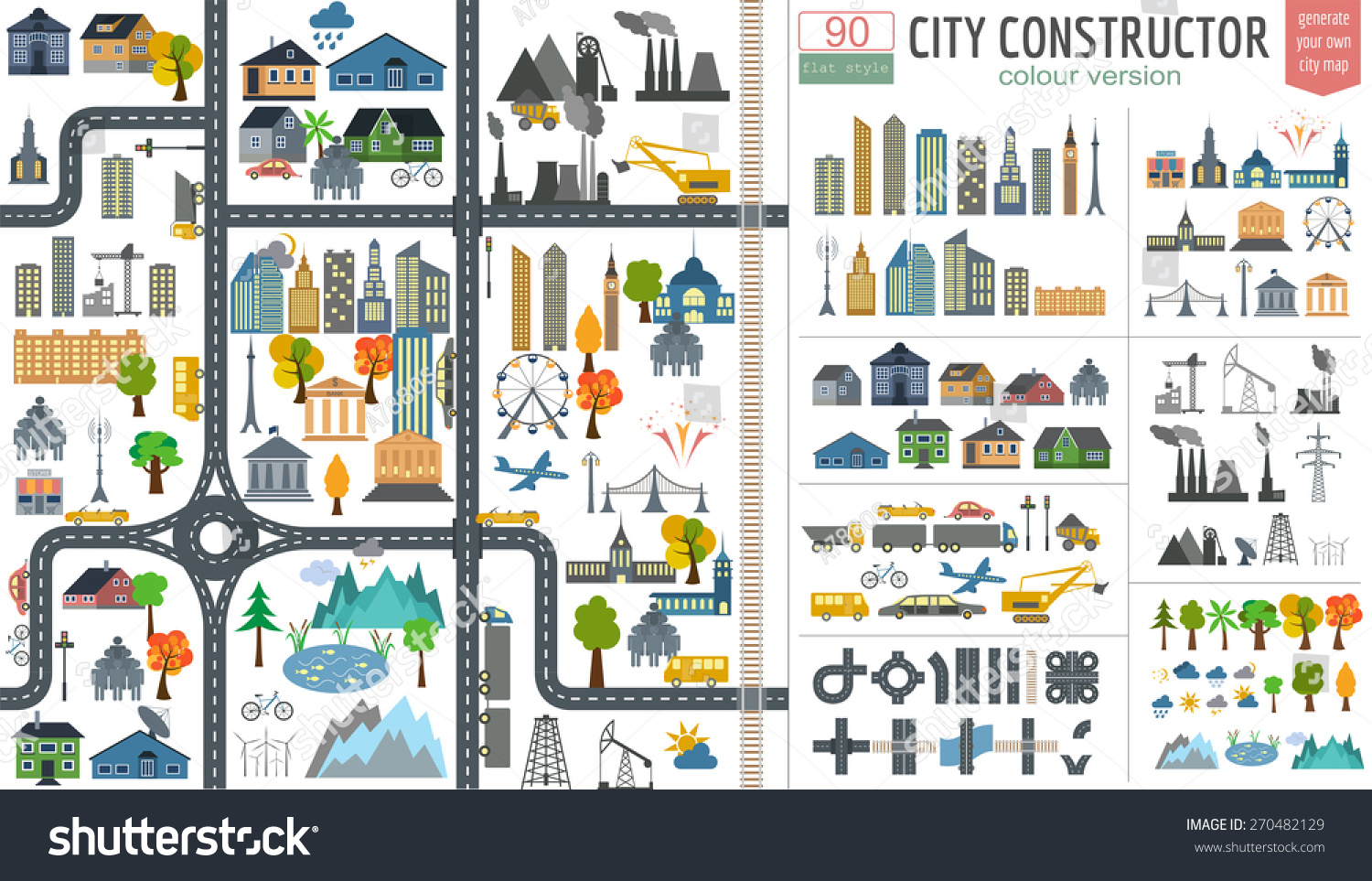 City Map Generator City Map Example Stock Vector 270482129