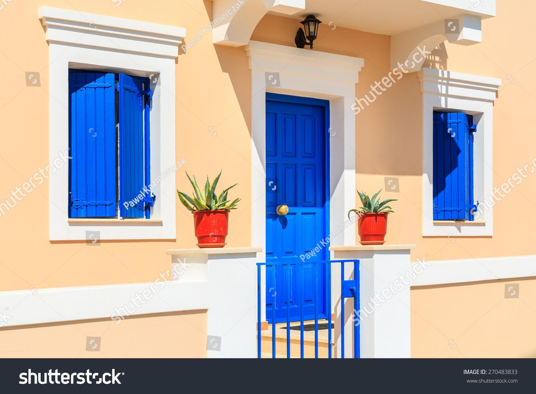 Facade typical greek house built venetian stock photo for Venetian style home