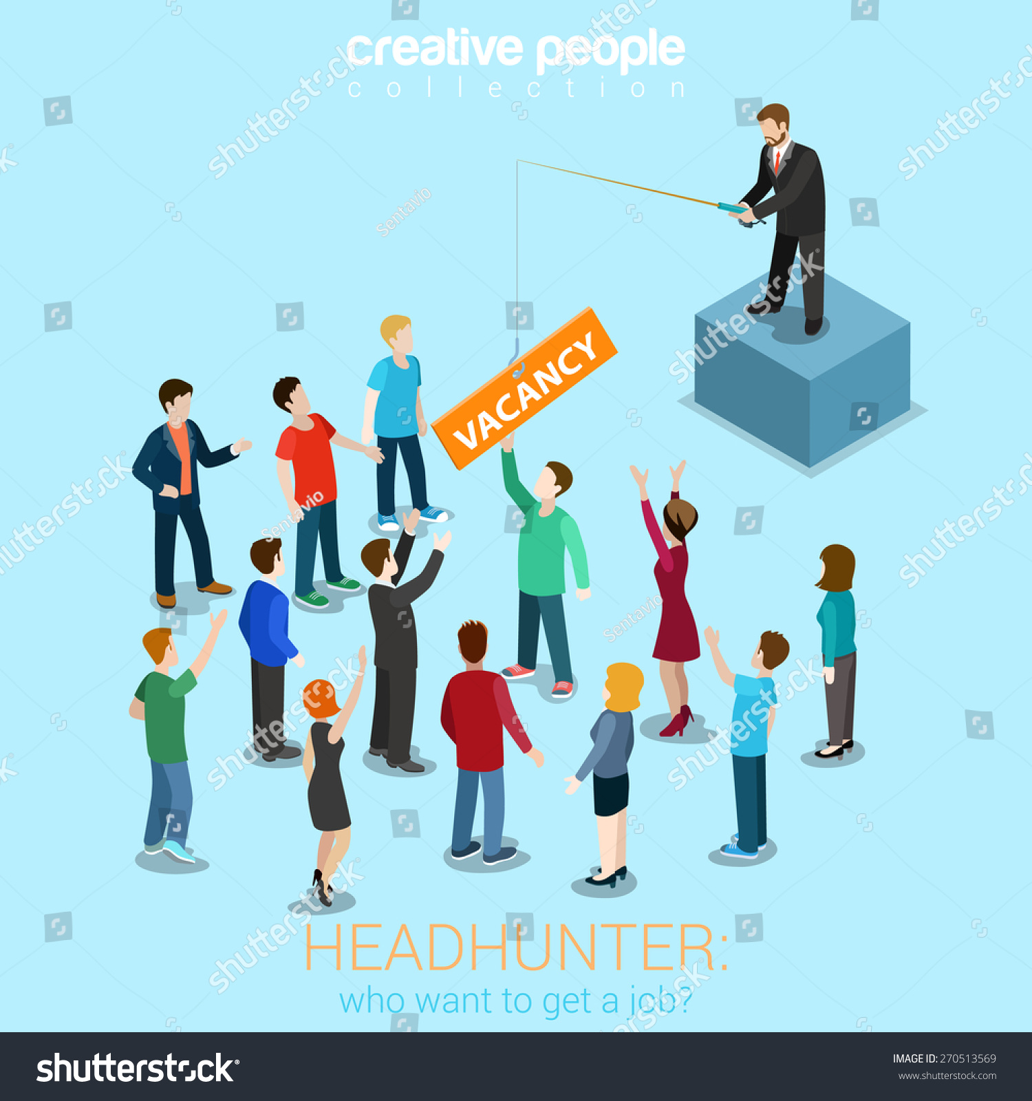headhunter hr job offer vacancy flat stock vector  headhunter hr job offer vacancy flat 3d web isometric modern trendy stylish concept vector illustration